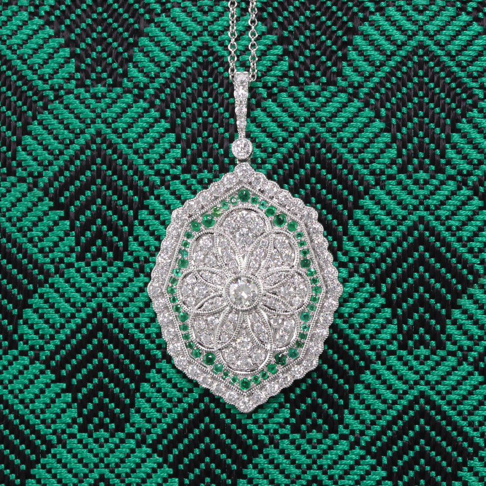 Art Deco Style Pendant - 18K White Gold and Emerald