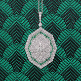 Art Deco Style Pendant - 18K White Gold and Emerald - The Antique Parlour