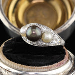 Antique Edwardian Platinum, Diamond & Pearl 3-stone Ring
