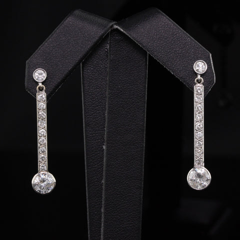 Antique Art Deco 14K & 18K White Gold and Diamond Drop Earrings