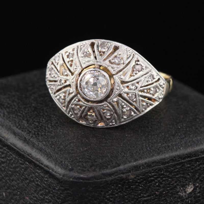 Vintage 18K Yellow Gold Platinum Top Diamond Ring - The Antique Parlour