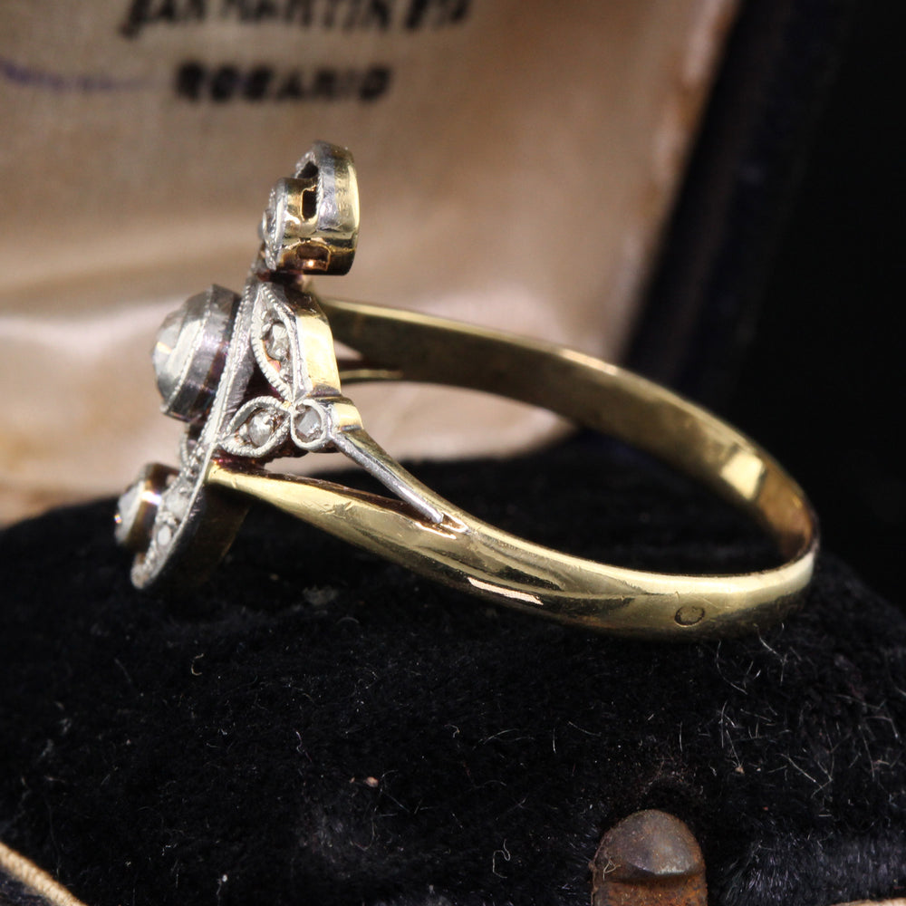 Vintage 14K Yellow Gold, Platinum Top & Diamond Ring - The Antique Parlour