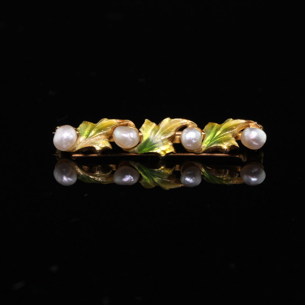 Antique Art Nouveau 14K Yellow Gold, Pearl and Enamel Leaf Bar Brooch