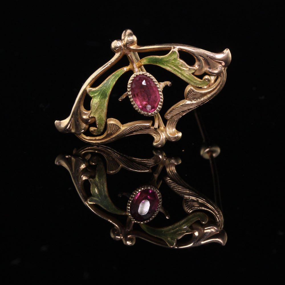 Antique Art Nouveau 14K Yellow Gold Ruby & Enamel Brooch