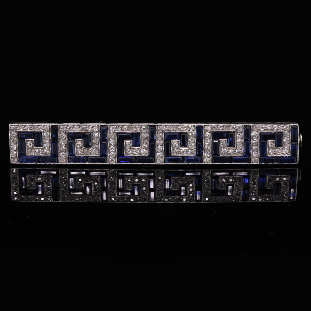 Antique Art Deco French Platinum, Diamond & Sapphire Bar Brooch - The Antique Parlour