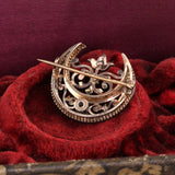 Antique Georgian 14K Rose Gold, Silver Top & Diamond Pin Brooch - The Antique Parlour