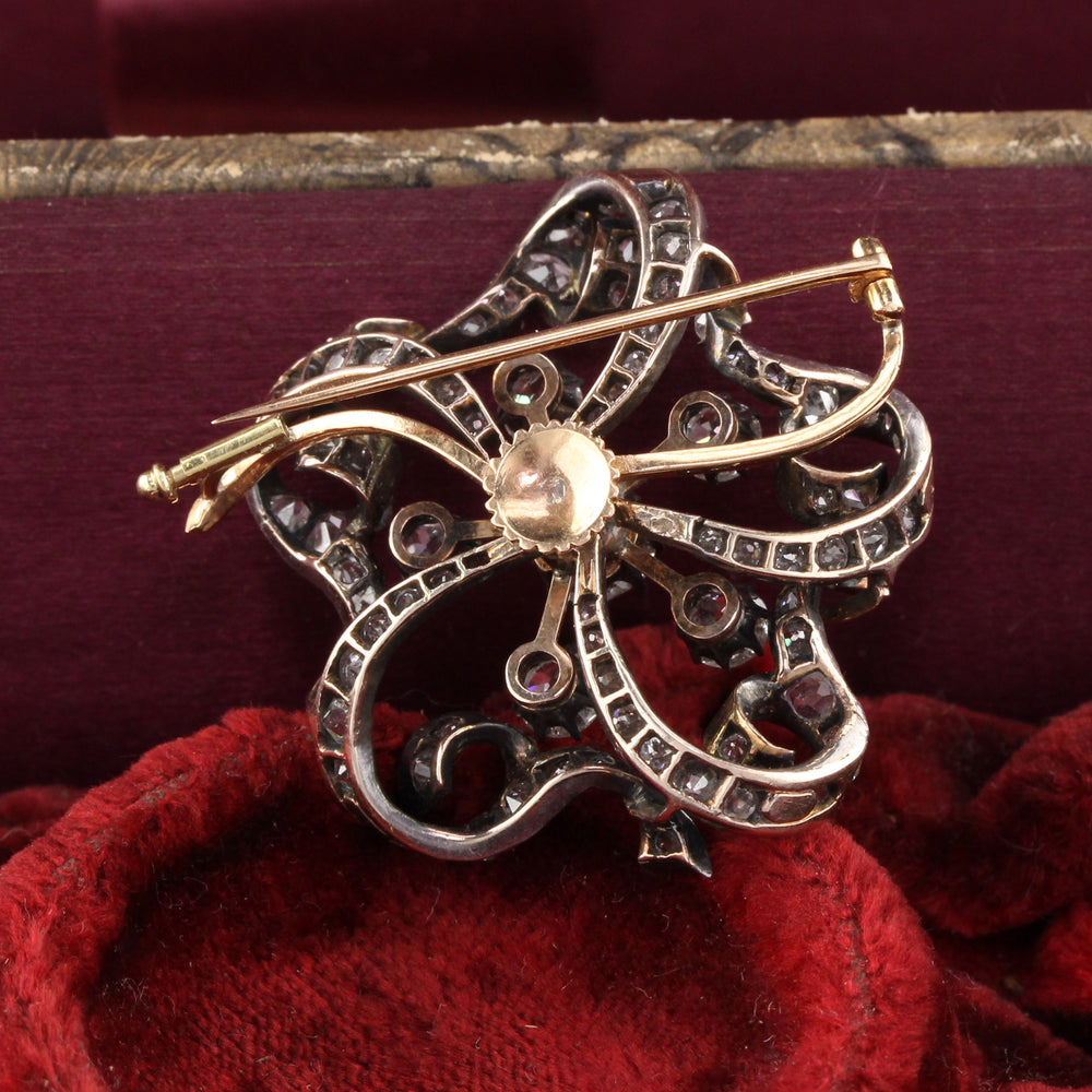 Antique Victorian 18K Yellow Gold, Silver Top & Diamond Flower Pin Brooch - The Antique Parlour