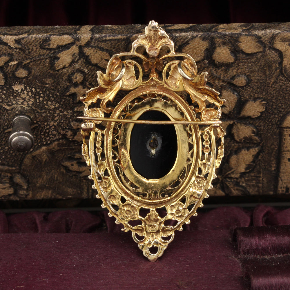 Antique Victorian 14K Yellow Gold Diamond and Onyx Pin Pendant - The Antique Parlour