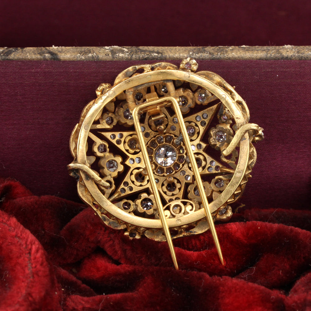 Antique Victorian 18K Yellow Gold & Diamond Pin Brooch - The Antique Parlour