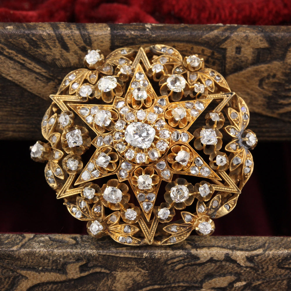 Antique Victorian 18K Yellow Gold & Diamond Pin Brooch