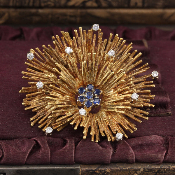 Vintage Estate 18K Yellow Gold Diamond and Sapphire Coral Reef Brooch Pin - The Antique Parlour
