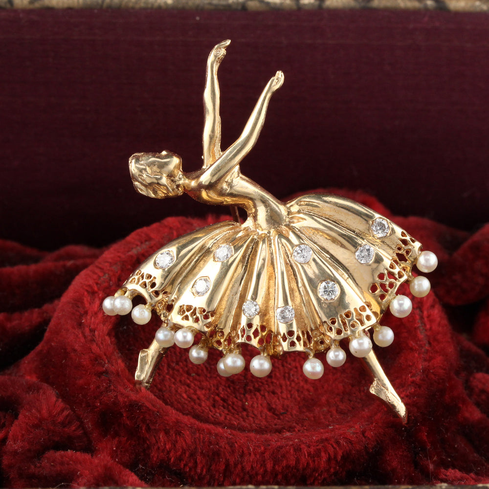Vintage Estate 14K Yellow Gold, Diamond & Pearl Ballerina Dancer Pin Brooch - The Antique Parlour