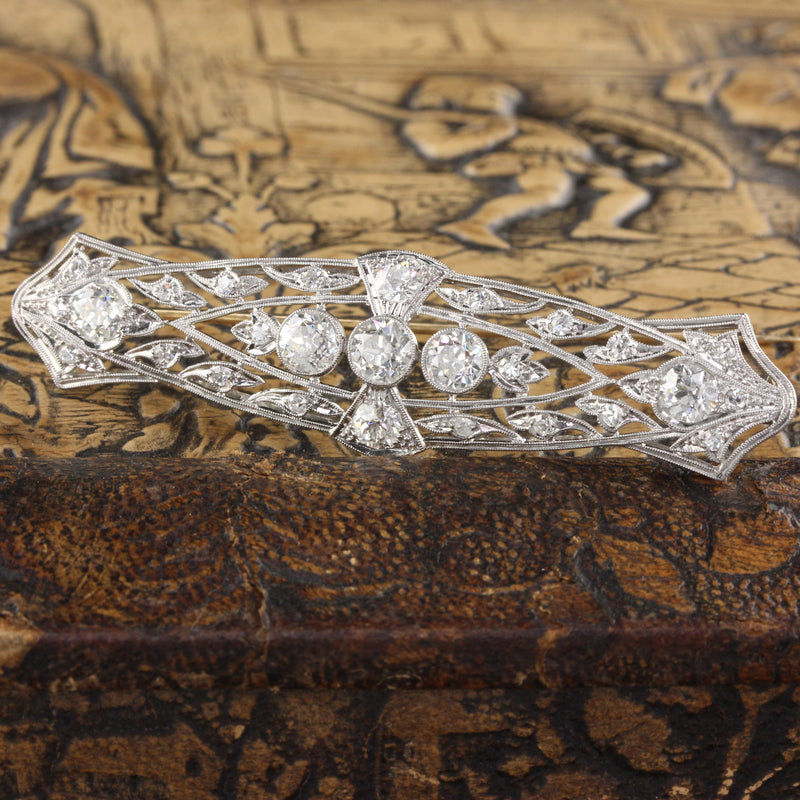 Antique Edwardian Platinum & Diamond Bar Brooch