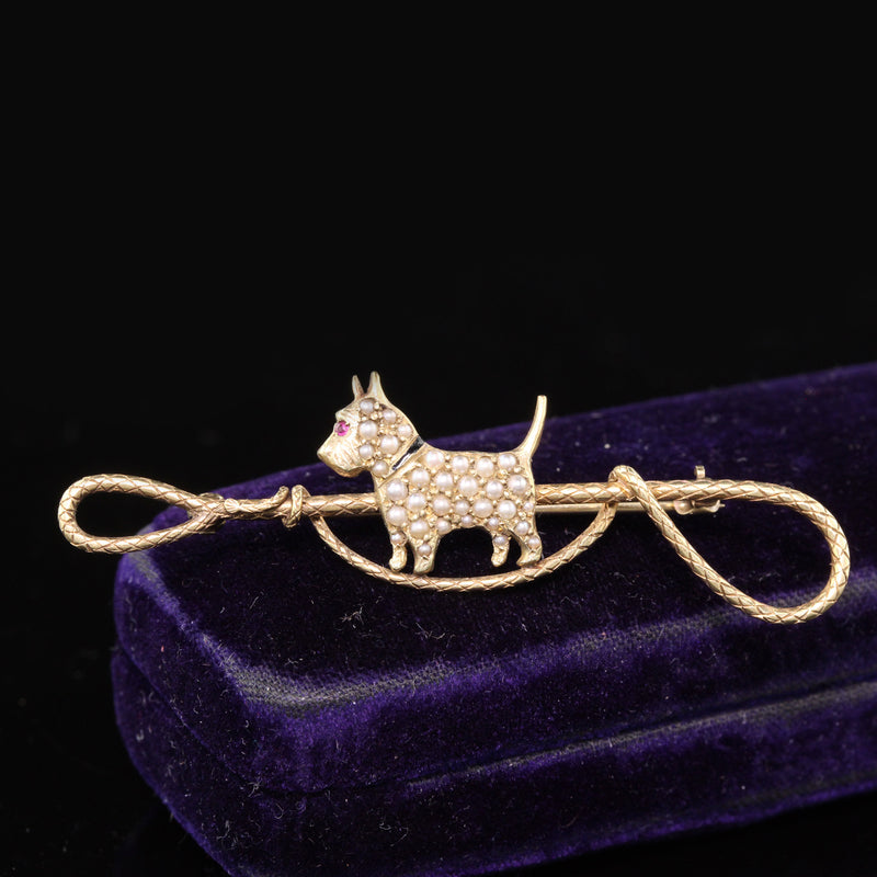 Antique Victorian Sloan & Co. 14K Yellow Gold Seed Pearl Dog Brooch