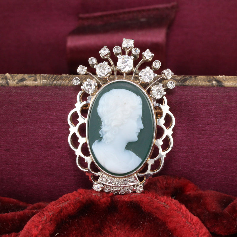 Vintage Estate 18K Yellow Gold, Platinum & Diamond Cameo Brooch