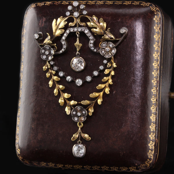 Antique Victorian 18K Yellow Gold & Diamond Pin Pendant - The Antique Parlour
