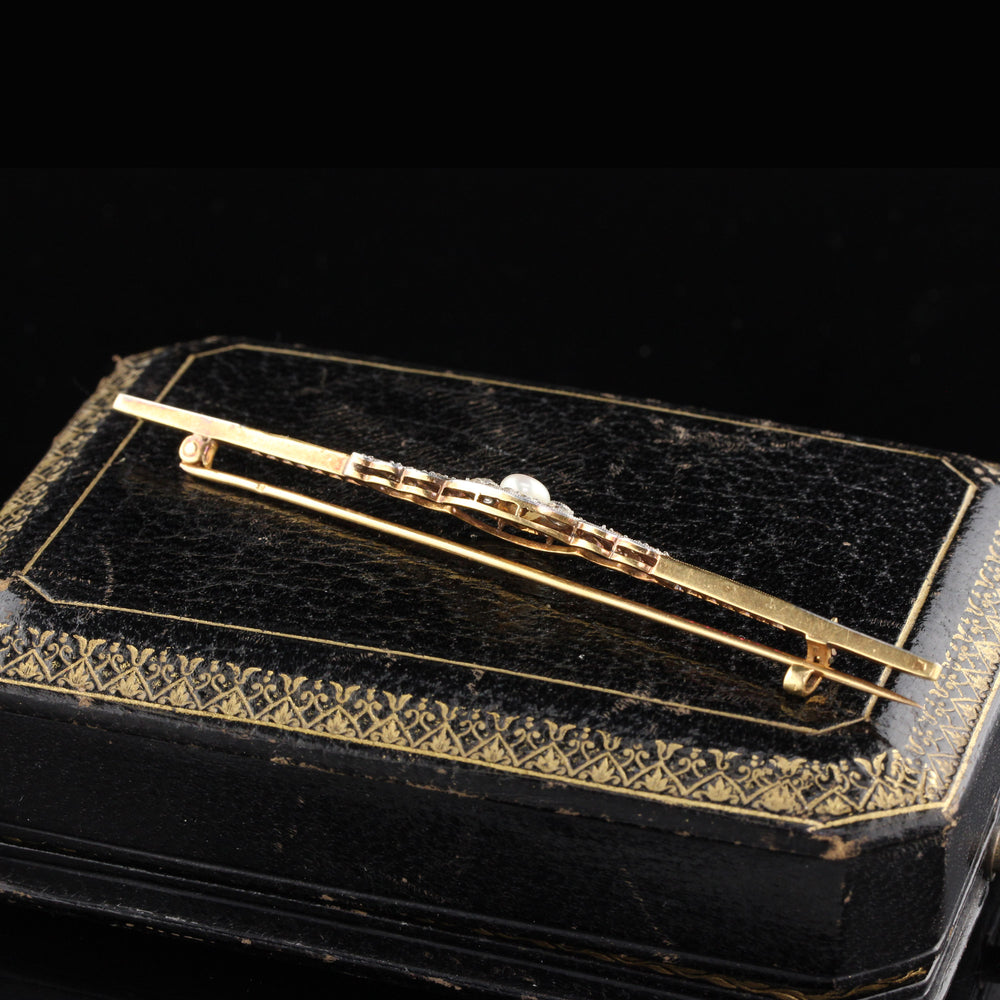 Antique Edwardian French 18K Yellow Gold Platinum Top Ruby Diamond Pearl Bar Brooch