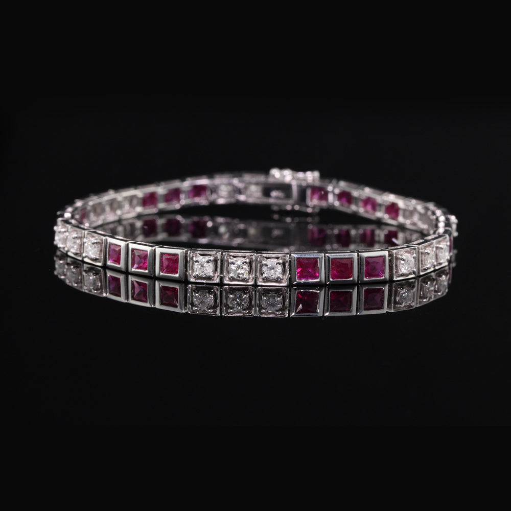 Art Deco Style 18K White Gold, Diamond & Ruby Tennis Bracelet - The Antique Parlour