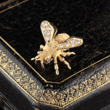 Vintage Henry Dankner 14K Yellow Gold Diamond Bee Brooch Pin