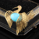 Vintage Estate 18K Yellow Gold & Turquoise Swan Brooch