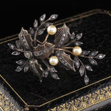 Antique Victorian 18K Yellow Gold, Silver, Rose Cut Diamond & Pearl Brooch