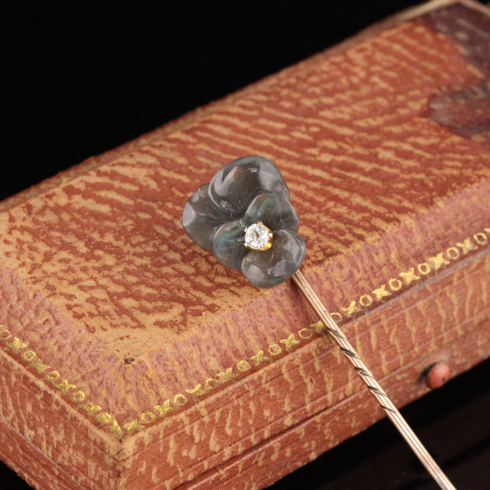Antique Victorian 10K Yellow Gold Carved Labradorite & Diamond Pansy Stick Pin