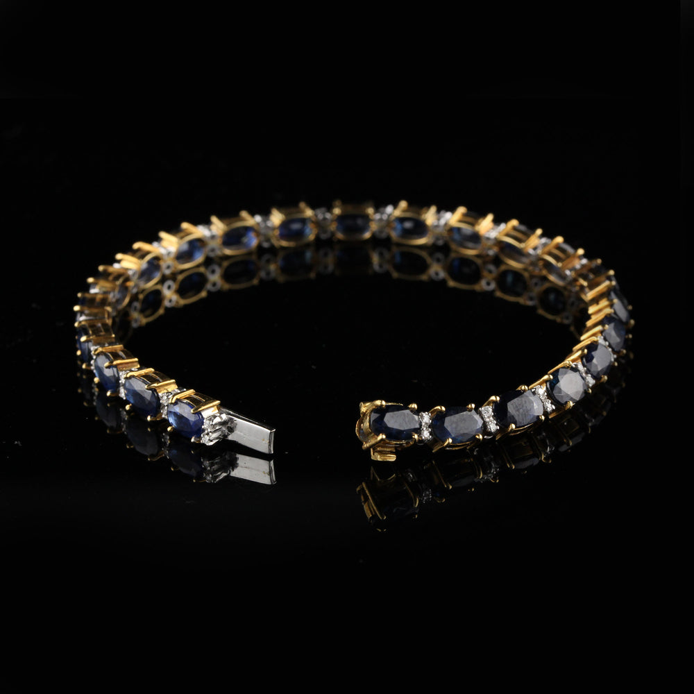 Vintage 18K Yellow Gold Diamond And Sapphire Bracelet