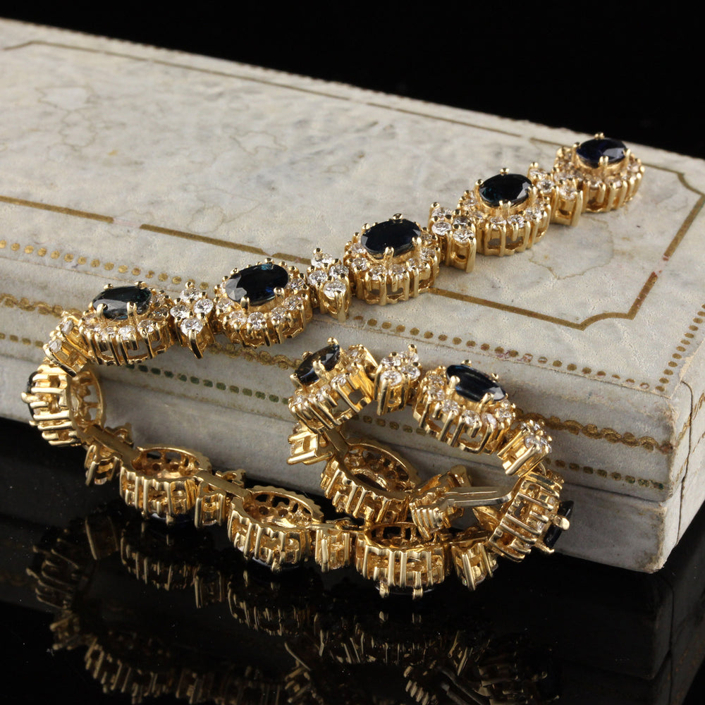Vintage 14K Yellow Gold Diamond And Sapphire Bracelet