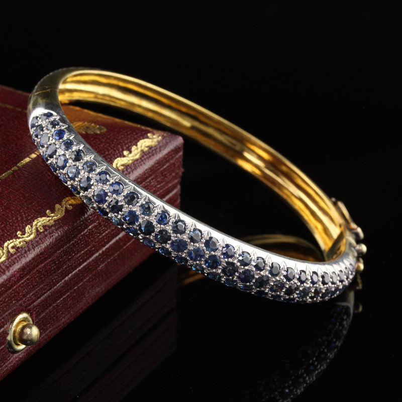 Vintage 18K Yellow Gold Sapphire Bangle