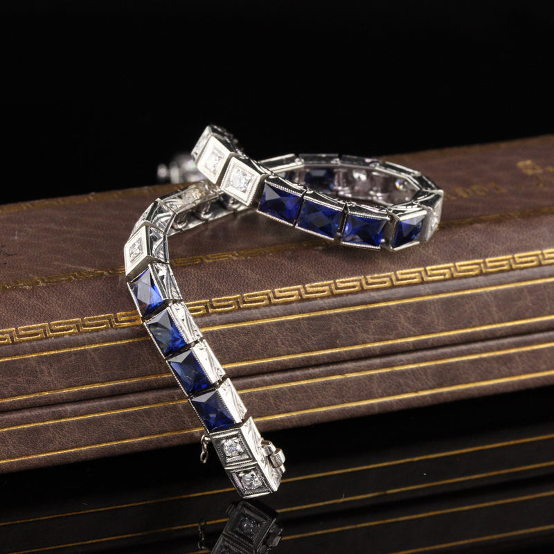 Antique Art Deco 18K White Gold Diamond and Sapphire Line Bracelet
