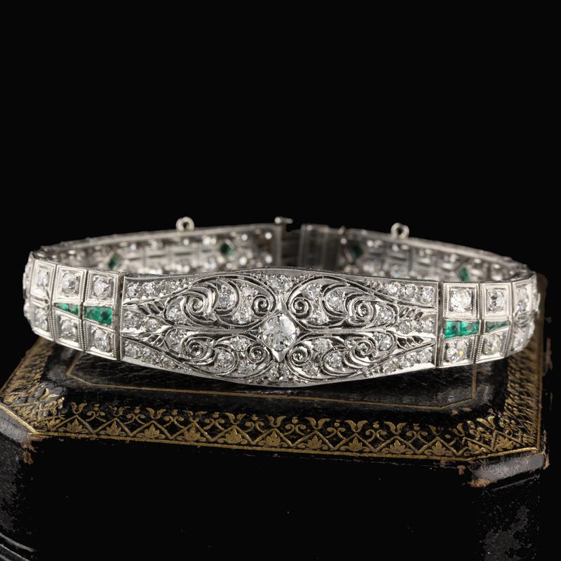 Antique Art Deco Platinum Old Euro Cut Diamond and Emerald Bracelet