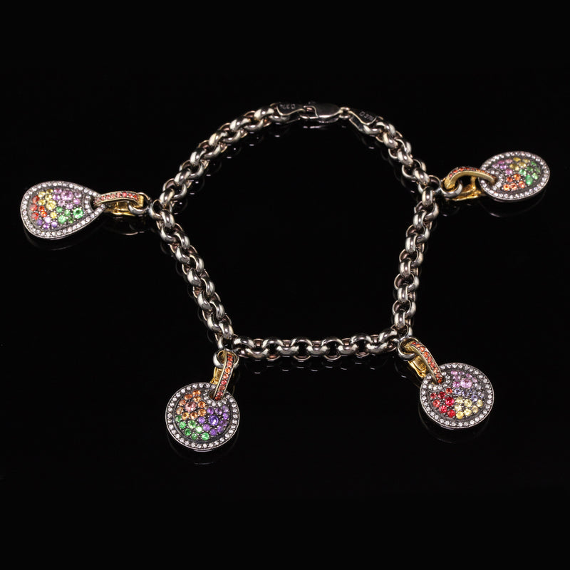 Estate 18K Yellow Gold Black Rhodium Diamond and Gemstone Charm Bracelet