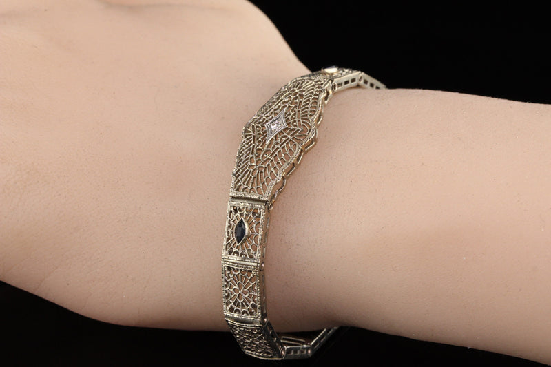 Antique Art Deco 10K White Gold Diamond and Sapphire Filigree Bracelet