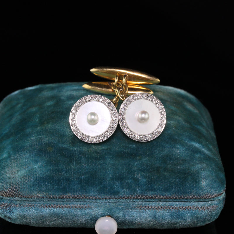 Antique Art Deco Platinum Diamond and Pearl Cufflinks