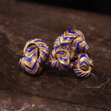 Vintage Estate 18K Yellow Gold and Blue Enamel Cufflinks