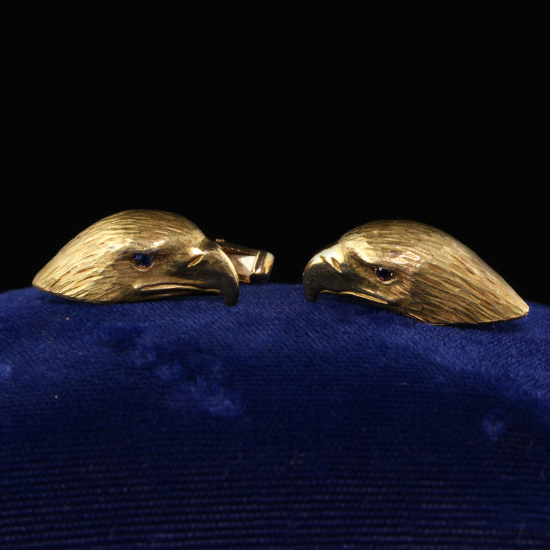 Deacon and Francis Vintage Estate 18K Yellow Gold Eagle Cufflinks