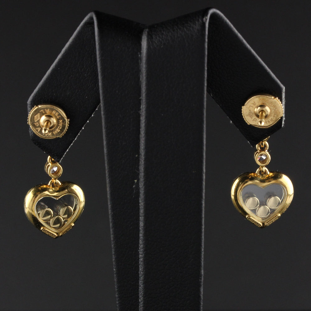 Vintage Chopard 18K Yellow Gold Happy Diamonds Heart Earrings
