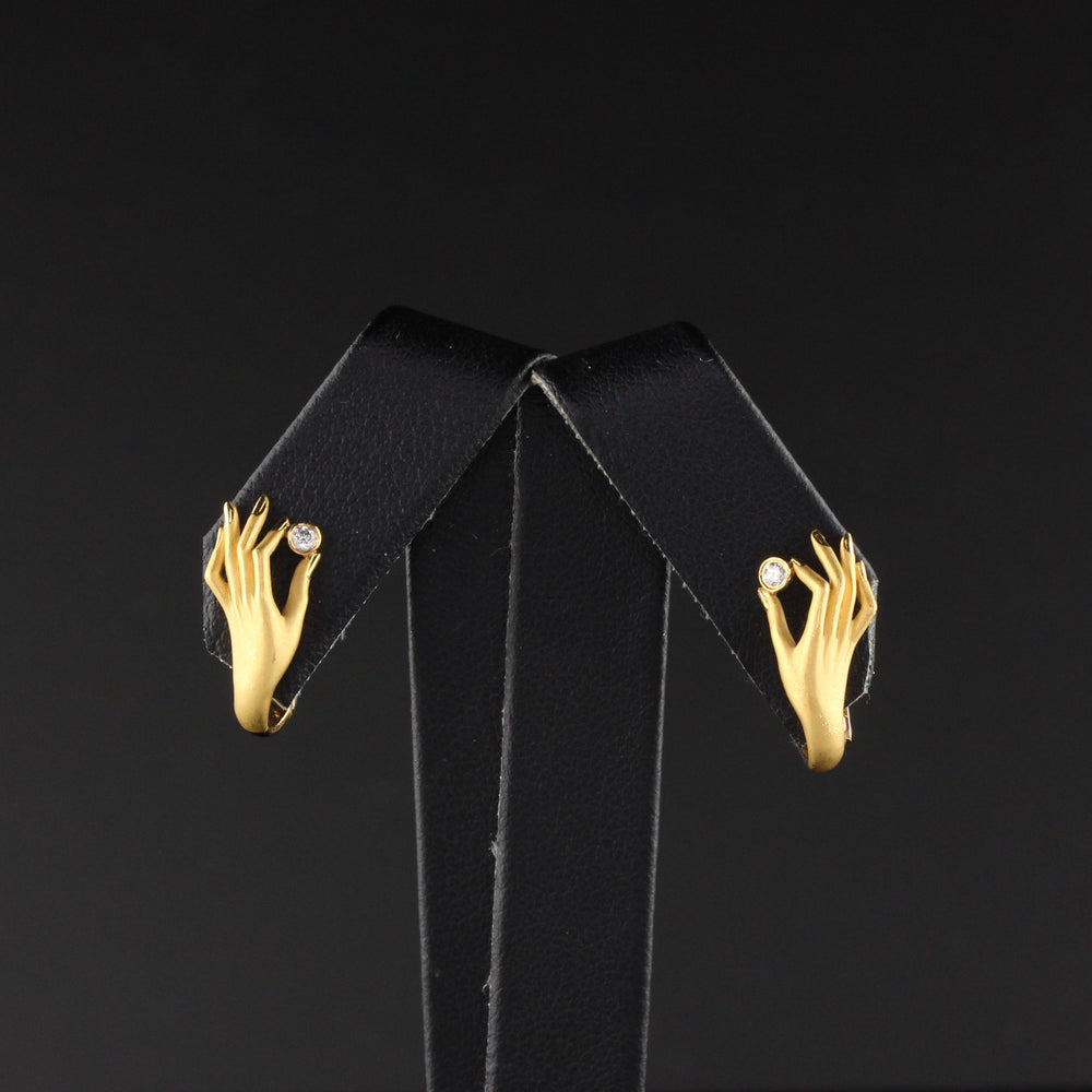 Vintage Carrera y Carrera 18K Yellow Gold & Diamond Hand Earrings