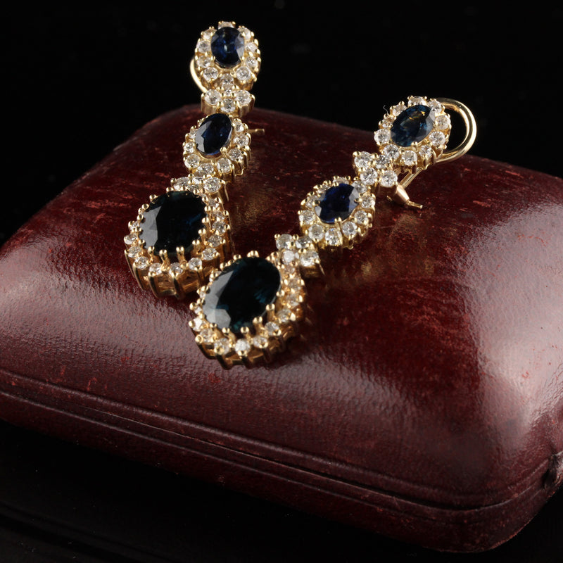 Vintage 14K Yellow Gold Drop Earrings With Diamonds and Sapphire