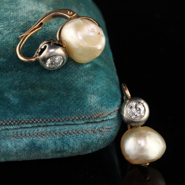 Antique Victorian 18K Yellow Gold Diamond and Pearl Earrings