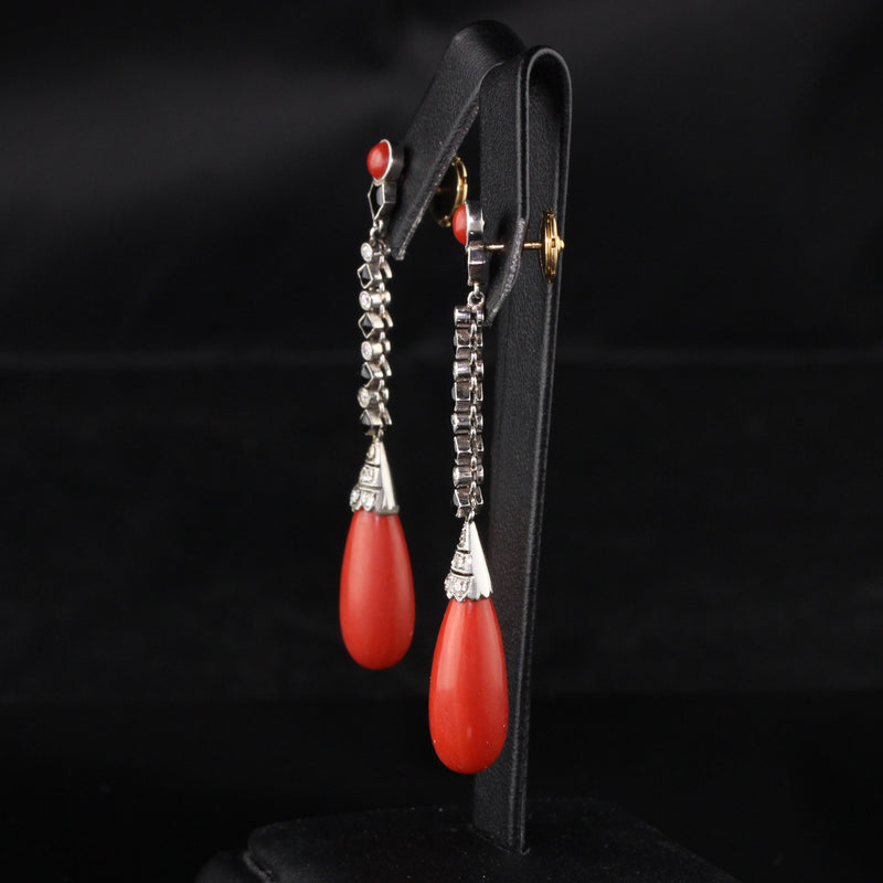 Antique Art Deco Platinum Diamond, Onyx, and Coral Drop Earrings