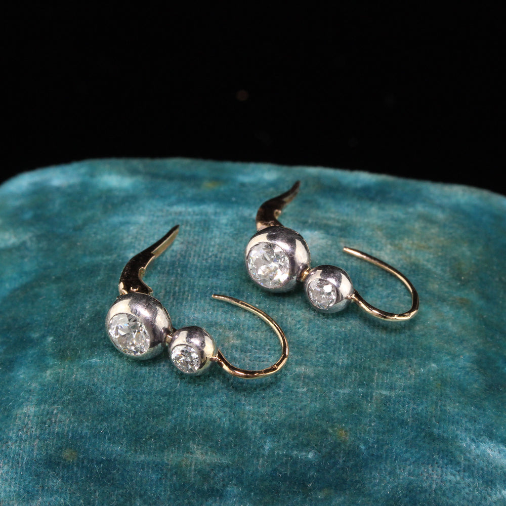 Antique Victorian 14K Yellow Gold Old Euro Cut Diamond Earrings