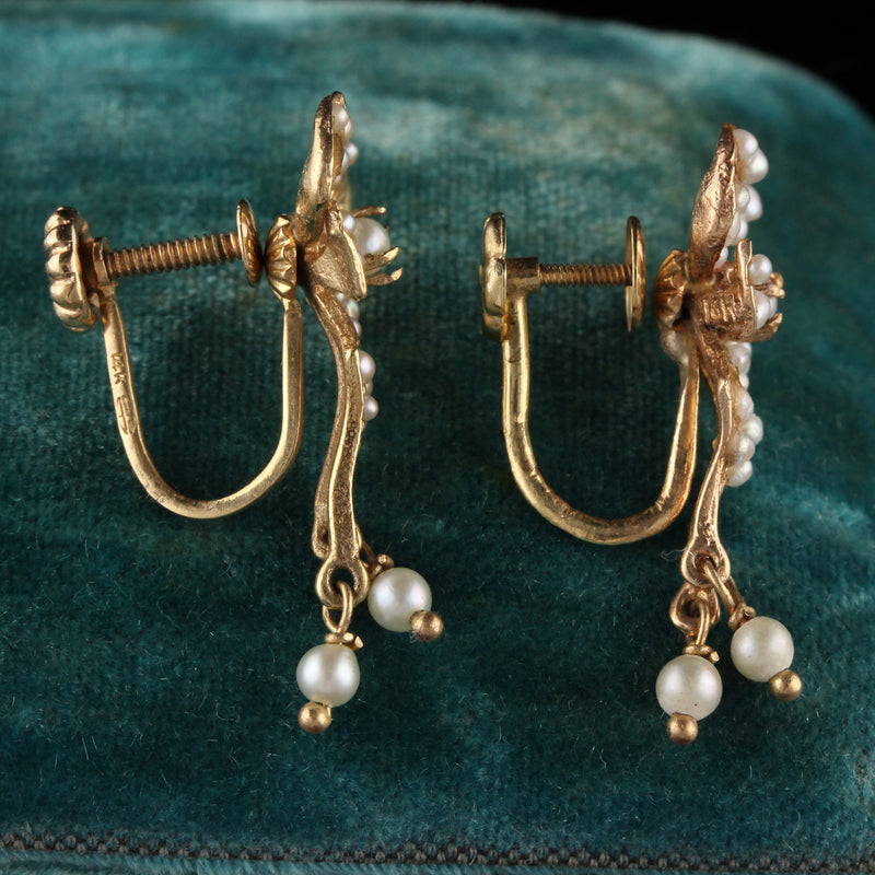 Antique Victorian 14K Yellow Gold Pearl Earrings