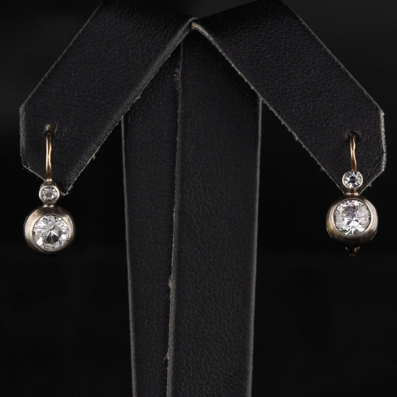 Antique Georgian 18K Yellow Gold and Silver Paste Drop Earrings