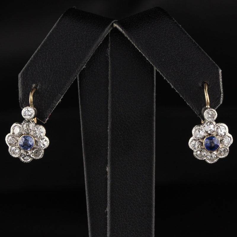 Antique Victorian 14K Yellow Gold Single Cut Diamond and Sapphire Drop Earrings