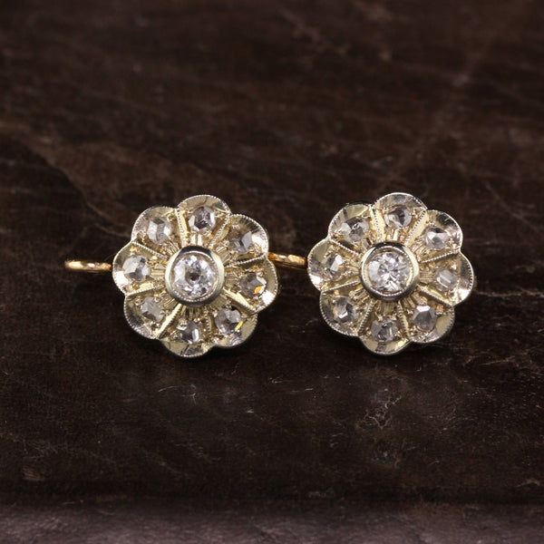 Antique Victorian 18K Yellow Gold Platinum Top Diamond Cluster Earrings