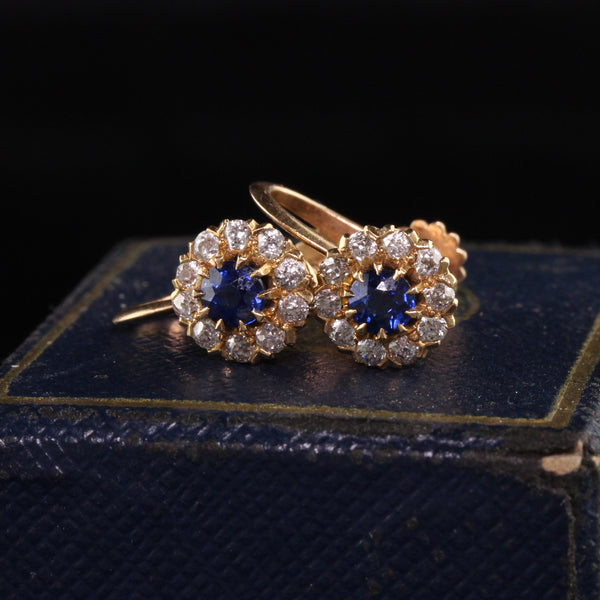 Antique Art Deco Bailey Banks and Biddle 18K Rose Gold Old Mine Diamond Sapphire Earrings
