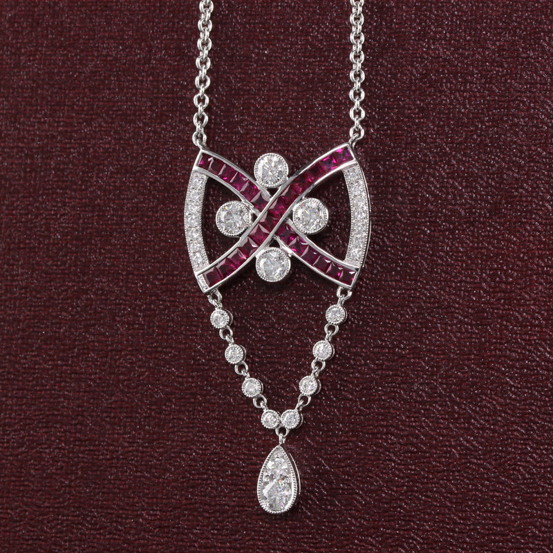 Vintage Estate 18K White Gold Diamond and Ruby Necklace