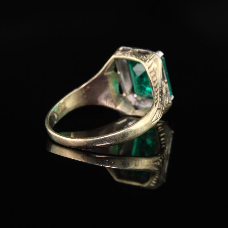 Antique Art Deco 14K Yellow Gold Emerald Engagement Ring