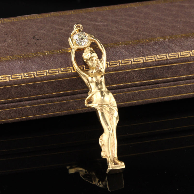 Vintage Estate 18K Yellow Gold Greek Goddess Diamond Pendant